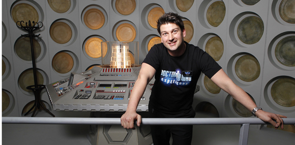 Mark Barton Hill and the 5th Doctors TARDIS